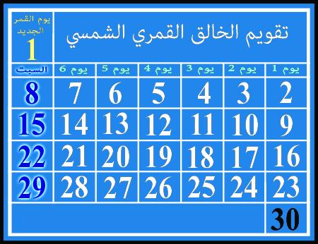 التقويم القمري الشمسي ، يُظهر السبوت في أيام ٨ و ١٥ و ٢٢ و ٢٩ من الشهر.