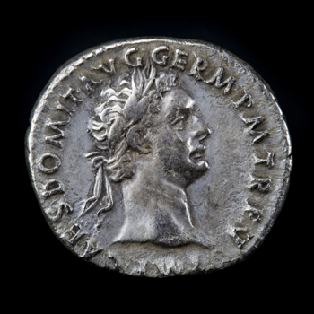 A denarius with the Roman emperor's image and superscription upon it