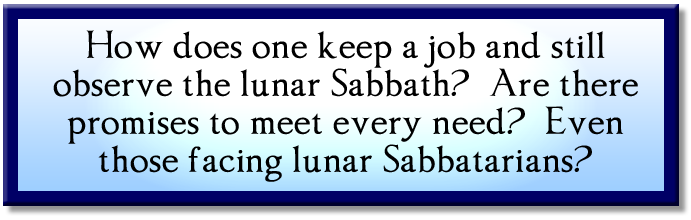 how to keep a job and still observe the lunar sabbath