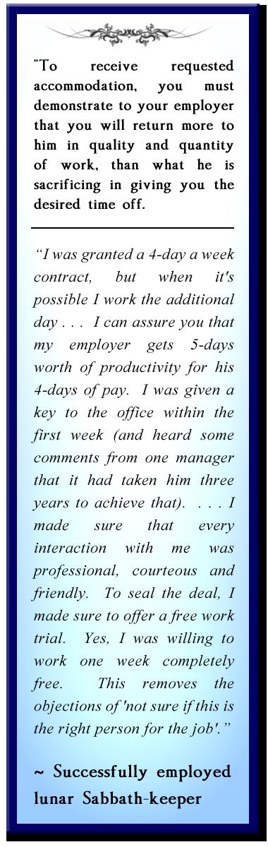 lunar sabbath employment testimony