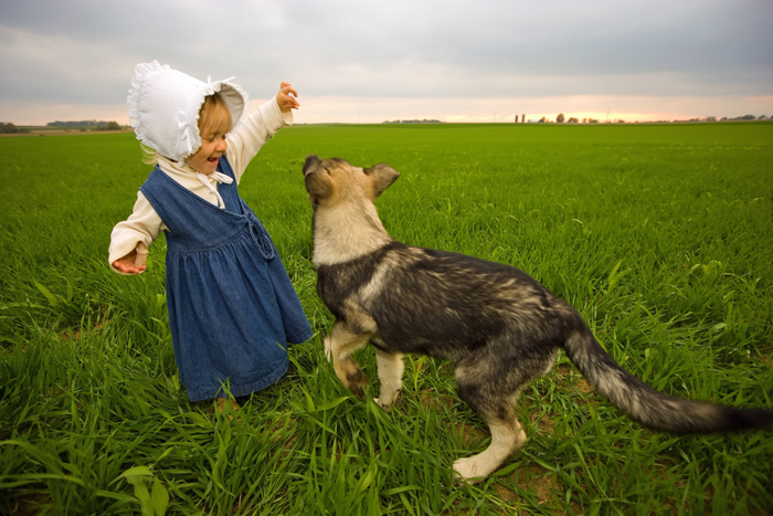 farm girl and dog