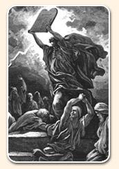 Moisés en el Sinaí con los diez mandamientos