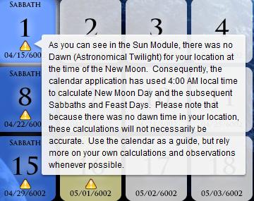 Calendar App Warning