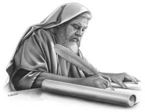 man writing on a scroll