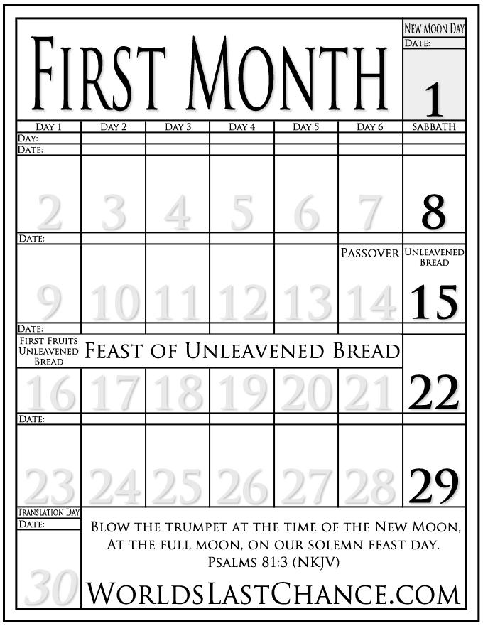 Printable Luni-Solar Calendar All