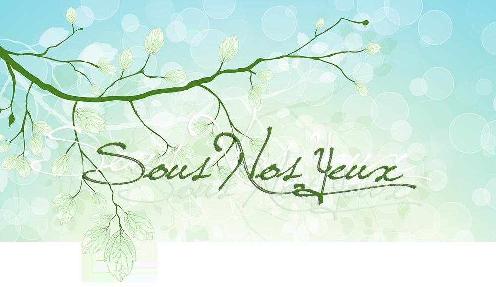 Sous Nos Yeux; sur fond vert dégradé et bulles, branches et ombres vertes pâles et blanches