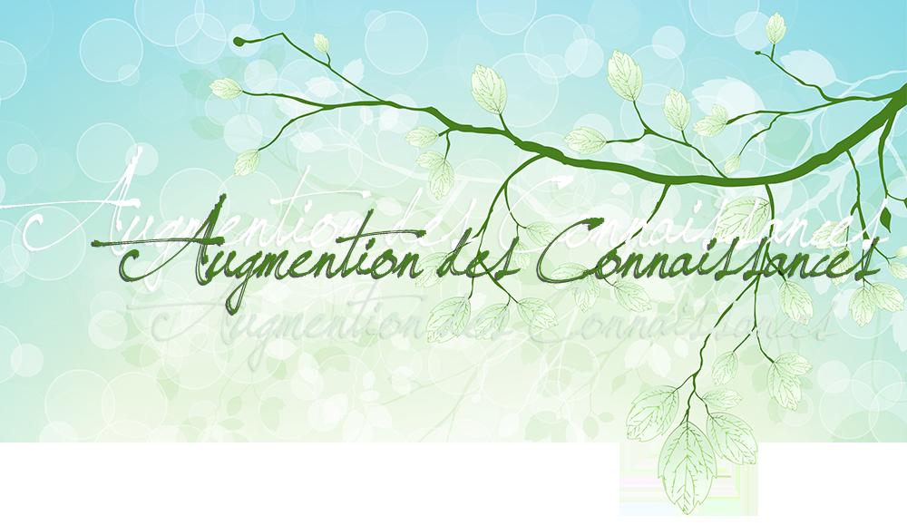 Augmention des Connaissances; sur fond vert et bleu, avec bulles transparentes, feuilles, branches vertes, en différentes lumières et couches, de pâle blanc à vert foncé, transparence, png