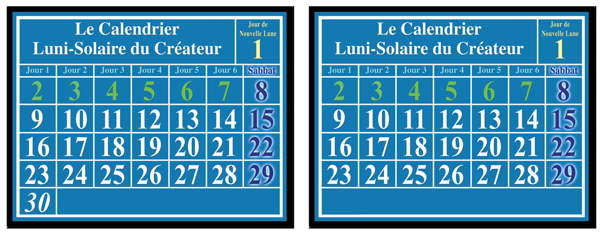 calendrier lunaire-solaire: nouvelle lune, sabbats, jour intercalaire