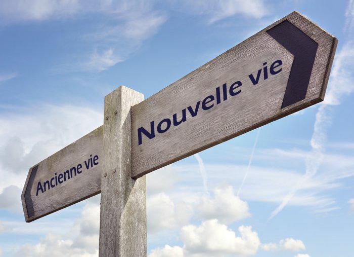 Panneau/poteau indicateur de direction en bois, avec deux flèches: Ancienne vie (vers la gauche), Nouvelle vie (vers la droite).