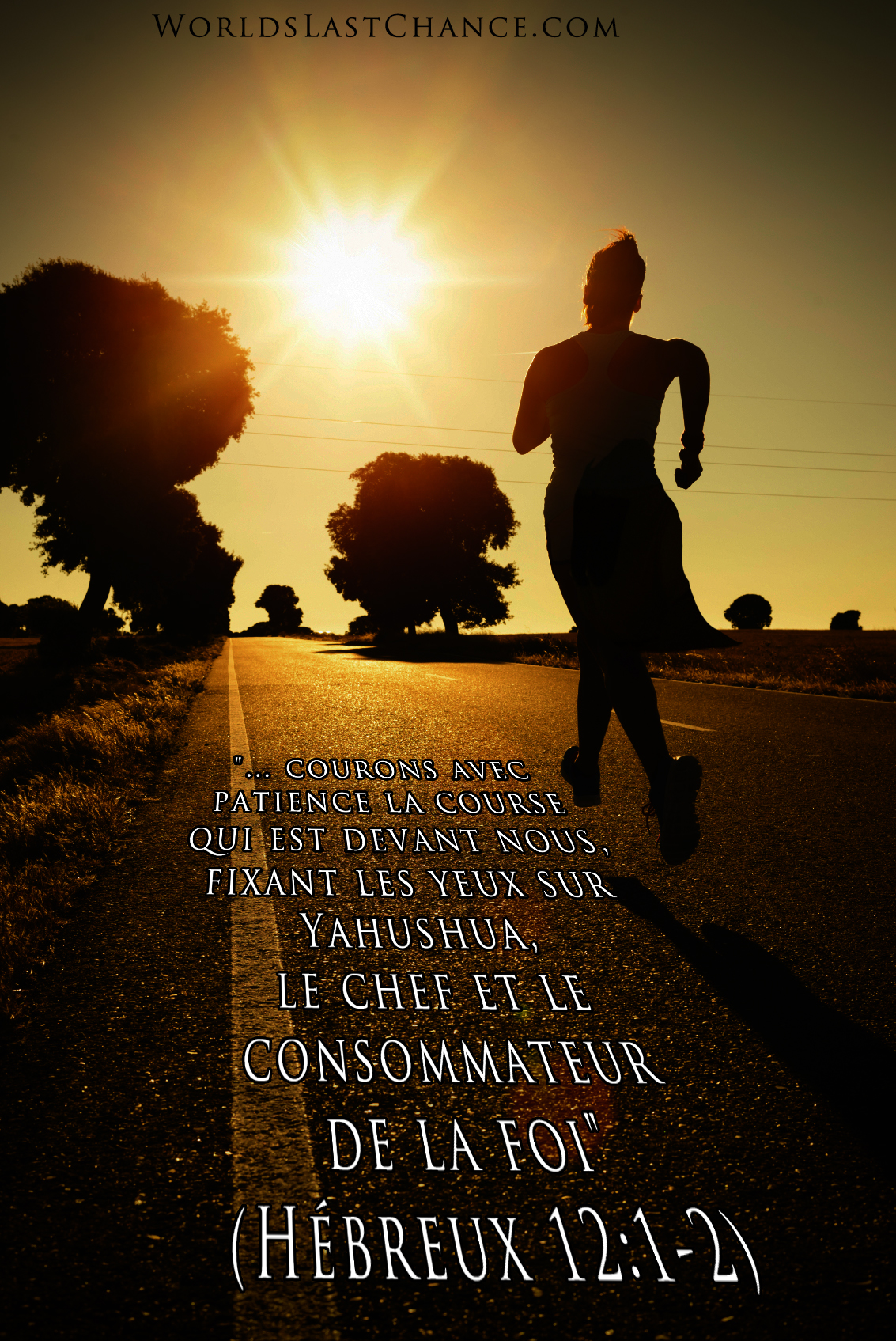 Patience pendant la course (endurance, running, trail, jogging, marathon); Hébreux 12