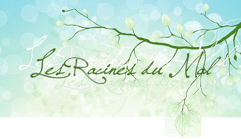 Les Racines du Mal; avec fond vert bleu à bulles blanches, feuilles et branches en surimpression lumière, pâle et blanc, feuilles en transparence