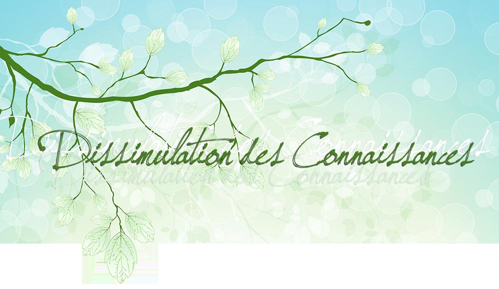 Dissimulation des Connaissances; sur fond vert et bleu, avec bulles transparentes, feuilles, branches vertes, en différentes lumières et couches, de pâle blanc à vert foncé, transparence, png