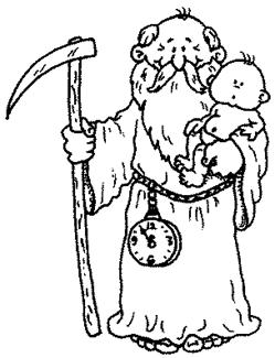 father time (saturn) and baby new year