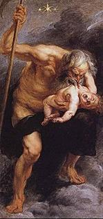 Kronos devouring his son by Peter Paul Rubens. Notice the scythe in Kronos' right hand.