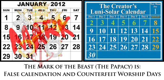 Gregorian Calendar compared to Luni-Solar Calendar; Mark of the Beast is Rome's Counterfeit Calendation.