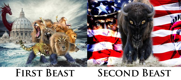 Revelation 13: First Beast (Rome) and Second Beast (USA)