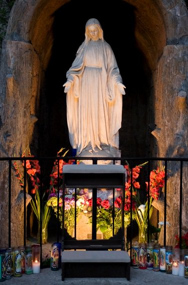 alter built in front of 'virgin mary' in grotto