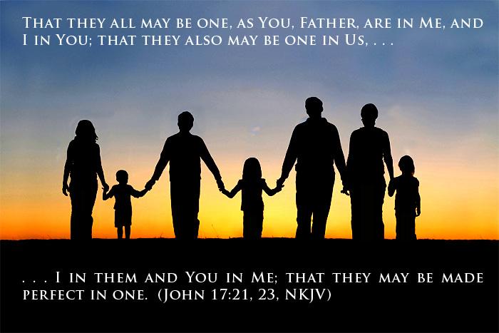 family holding hands; John 17:21, 23