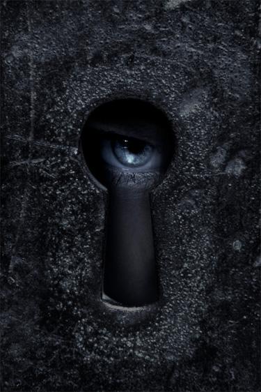 satan bound (eye looking through a keyhole)