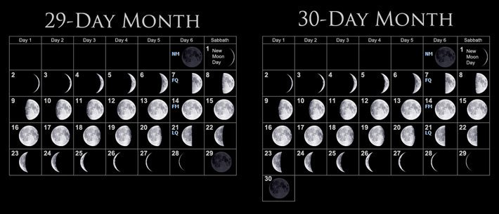 A 29-day lunar month and a 30-day lunar month side-by-side