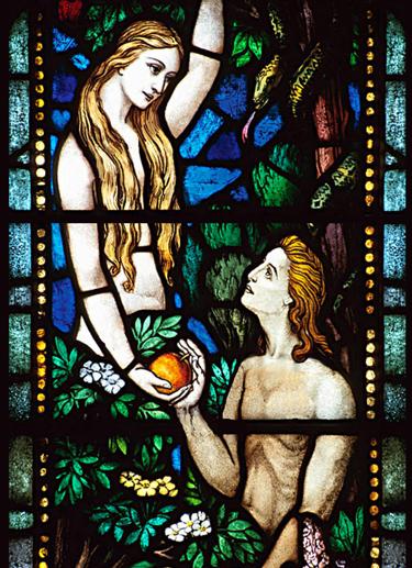 आदम और हव्वा का चित्र काँच पर
