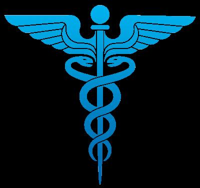 Symbole médical de couleur bleue, deux serpents entrelacés autour d'une perche, bâton pointu, ayant deux ailes en sa partie supérieure, surmonté d'une boule poignée