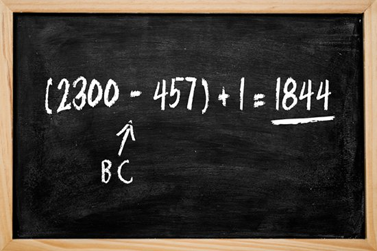 Chalkboard illustrating the 2300 day prophecy math equation