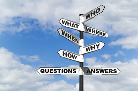 Who, What, Where, When, Why, How, Questions, & Answers Sign