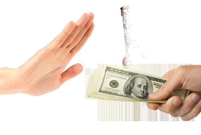 utsträckt hand vägrar pengar