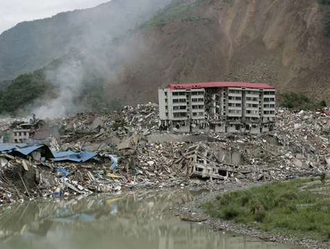 city damaged by earthquake