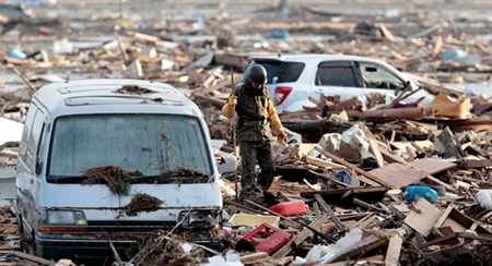 Aftermath of tsunami in Japan (March, 2011)