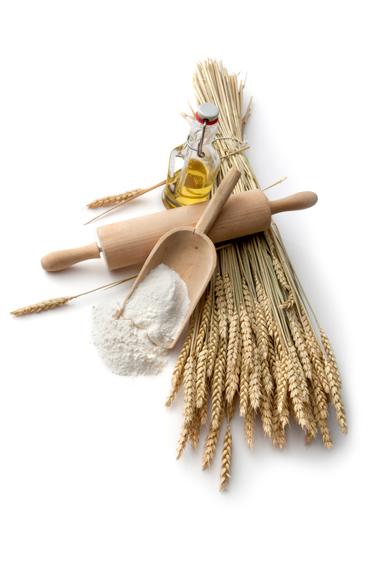 trigo, flores, aceite