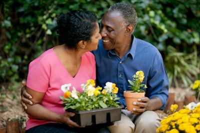 pareja mayor en un jardín de flores