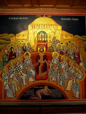 The Council of Nicaea, with Arius under thier feet