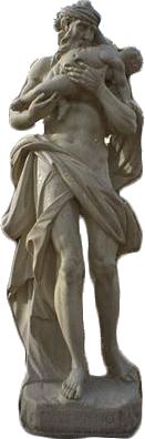 estátua de Saturno e criança vítima