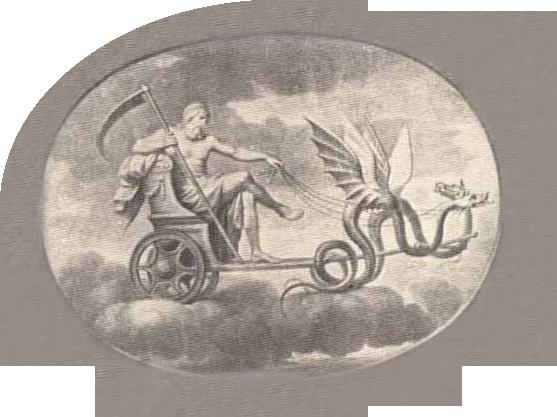 Saturno em carro voador está sendo puxado por duas serpentes aladas