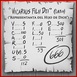 Vicarius Filii Dei = 666
