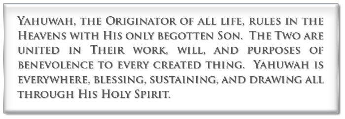 Yahuwah, the originator of all life, rules in the Heavens with His only begotten Son.  The Two are united in Their work, will, and purposes of benevolence to every created thing.  Yahuwah is everywhere, blessing, sustaining, and drawing all through His Holy Spirit.