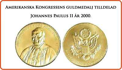 USA kongress-medaljen delas ut till påven Johannes Paulus II år 2000