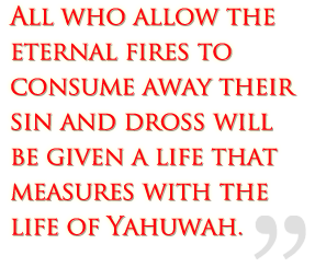 All who allow the eternal fires to consume away their sin and dross will be given a life that measures with the life of Yah.