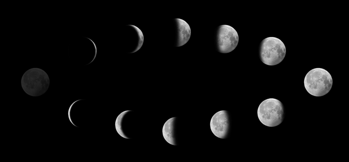 Moon Phases; Den poté, co Conunction = New Moon den