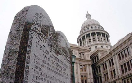 10 Commandments displayed in front of Texas Capital Building