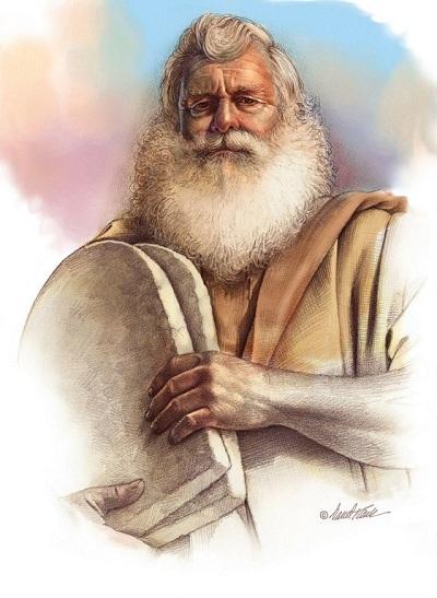 Moisés con los Diez Mandamientos