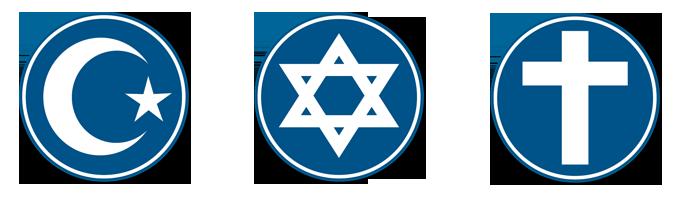 Muslim půlměsíce, Davidovy hvězdy a kříže