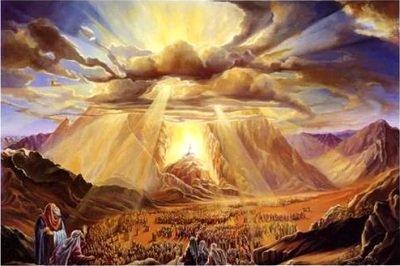 Moisés y los hijos de Israel en el monte Sinaí