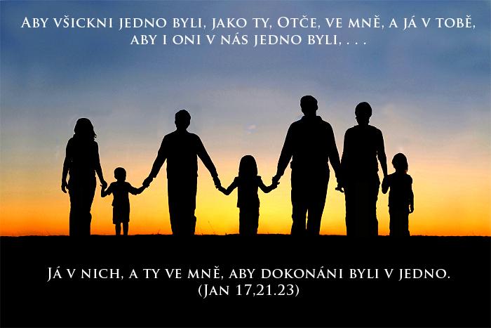 rodina, drželi se za ruce; Jan 17:21, 23