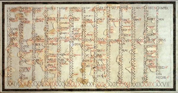 Rekonstruksi Fasti Antiates, satu-satunya kalender Republik Romawi yang masih ada.