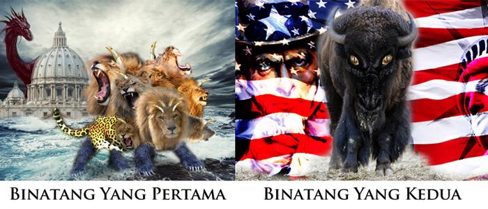 Wahyu 13: Pertama Binatang (Roma) dan Kedua Binatang (USA)
