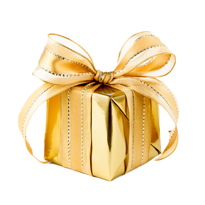 hadiah dibungkus kertas emas