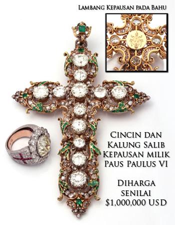 Cincin dan Kalung Salib Kepausan milik Paus Paulus VI